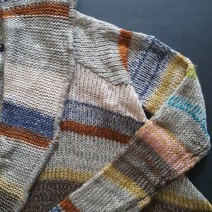 Striped long sweater blanket cardigan Size S NWOT